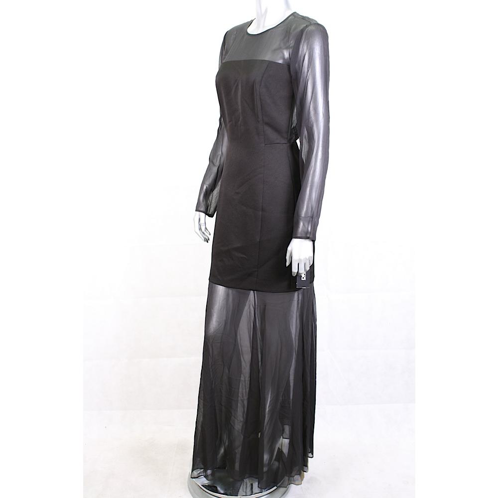 Dkny New Black Mesh Insert Ball Gown Formal Dress Size 10 Retail