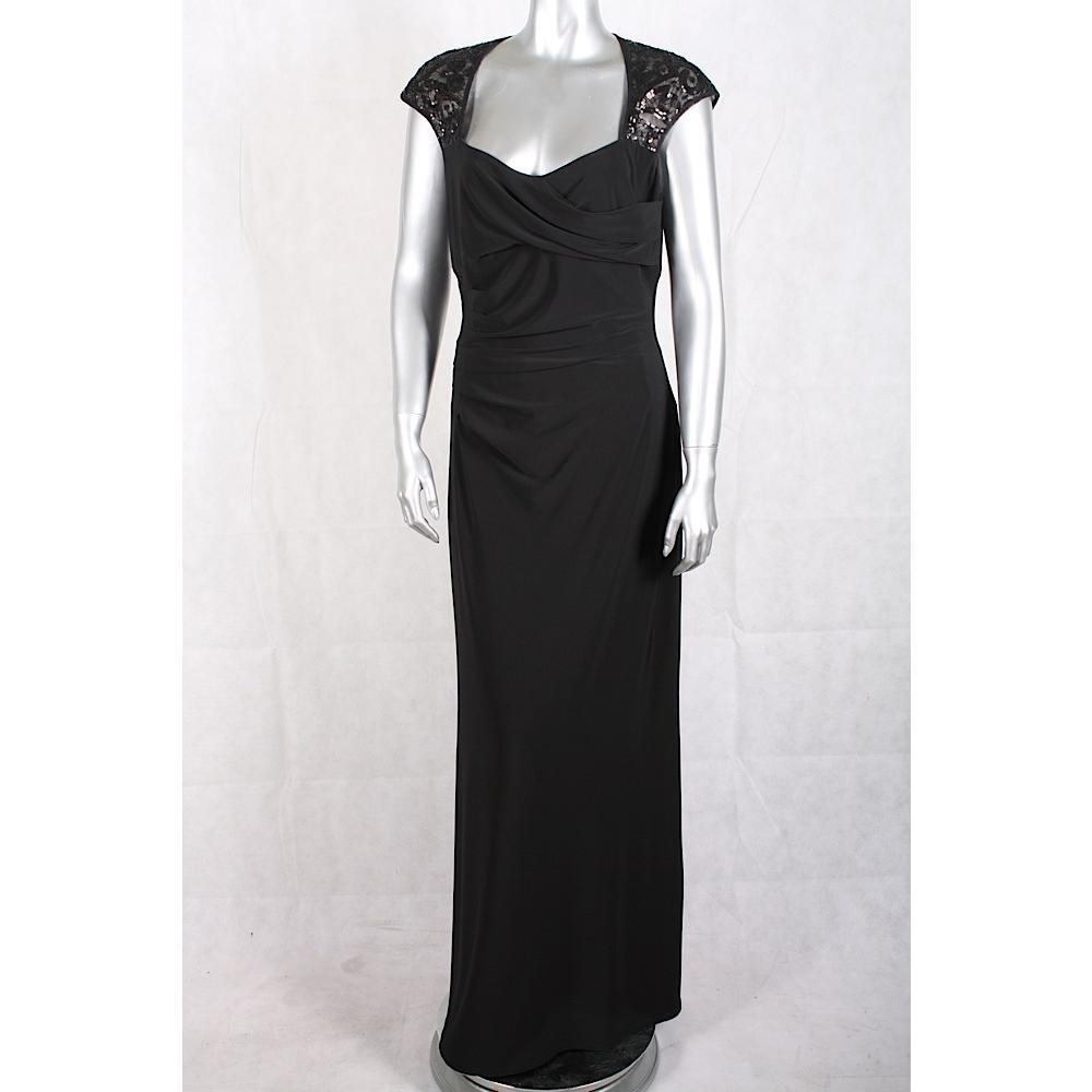 Lauren Ralph Lauren NEW Dress, Cap-Sleeve Sequin Gown Black 8 ...