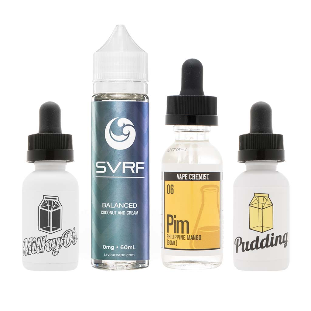 Curated Sample Pack | Feat. Balanced by SVRF, Milky Os and Pudding by The Milkman, and Pim by Vape Chemist Photo