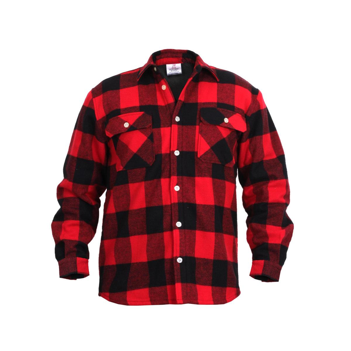 rothco plaid fleece lined flannel shirt red ebay. Black Bedroom Furniture Sets. Home Design Ideas