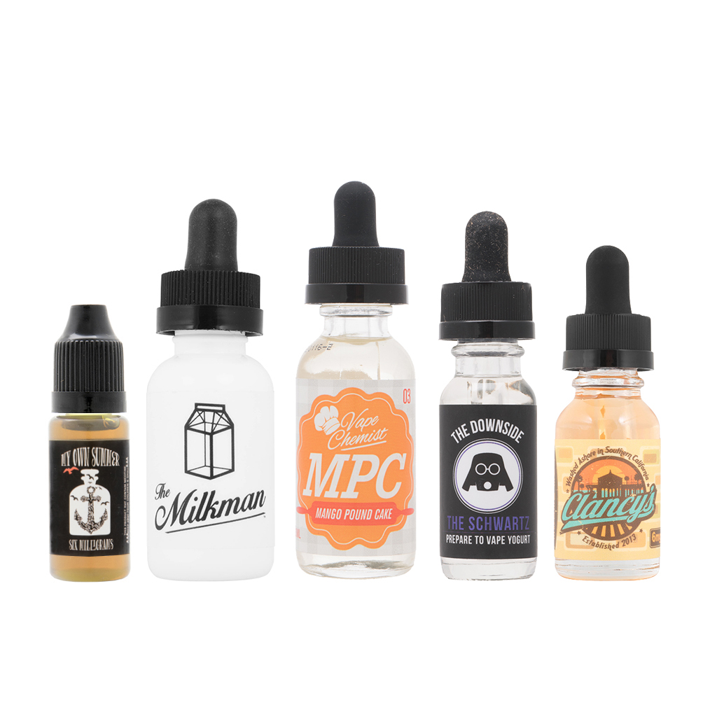 Curated Sample Pack | Feat. The Milkman, Mango Pound Cake by Vape Chemist, Riptide by Clancys, The Downside by The Schwartz, and My Own Summer by Twig & Berries Photo