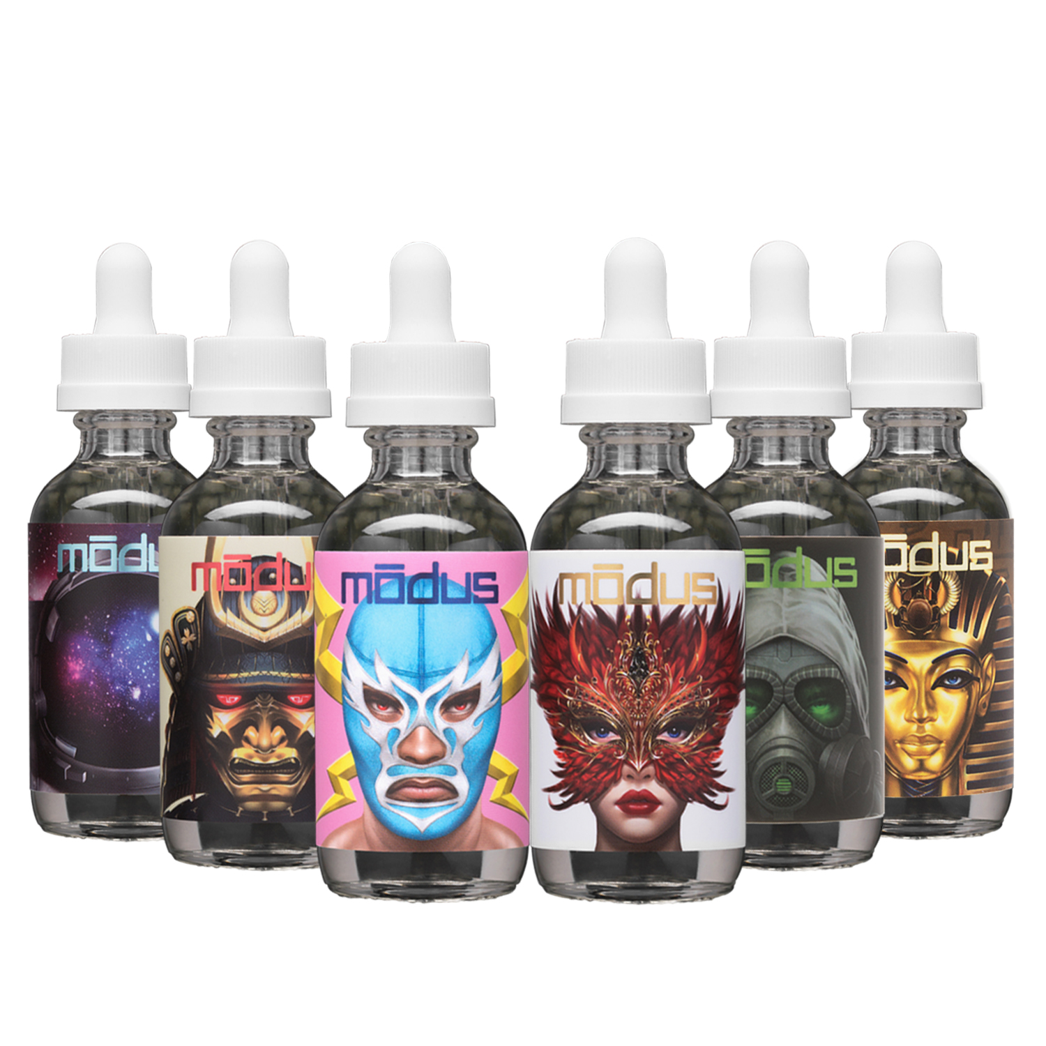 Modus Vapors 6-Bottle Signature Value Pack | 1x Molly + 1x Pablo + 1x Akuma + 1x Buzz + 1x Riot + 1x Ka | 360mL Photo