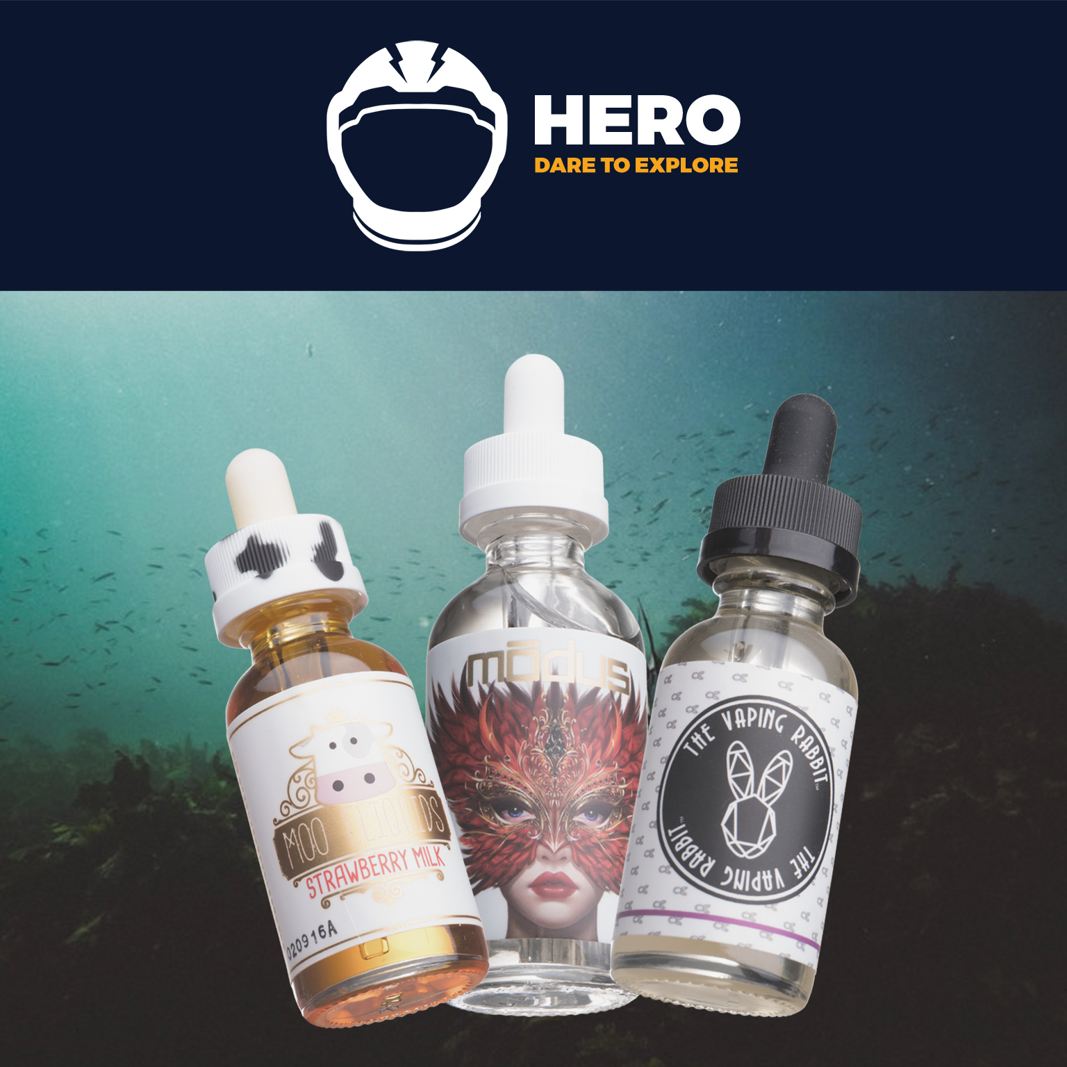 120mL SUPER HERO Box | Feat. Molly by Modus, Strawberry Milk by Moo Eliquids, and The Cheshire Cat by The Vaping Rabbit Photo