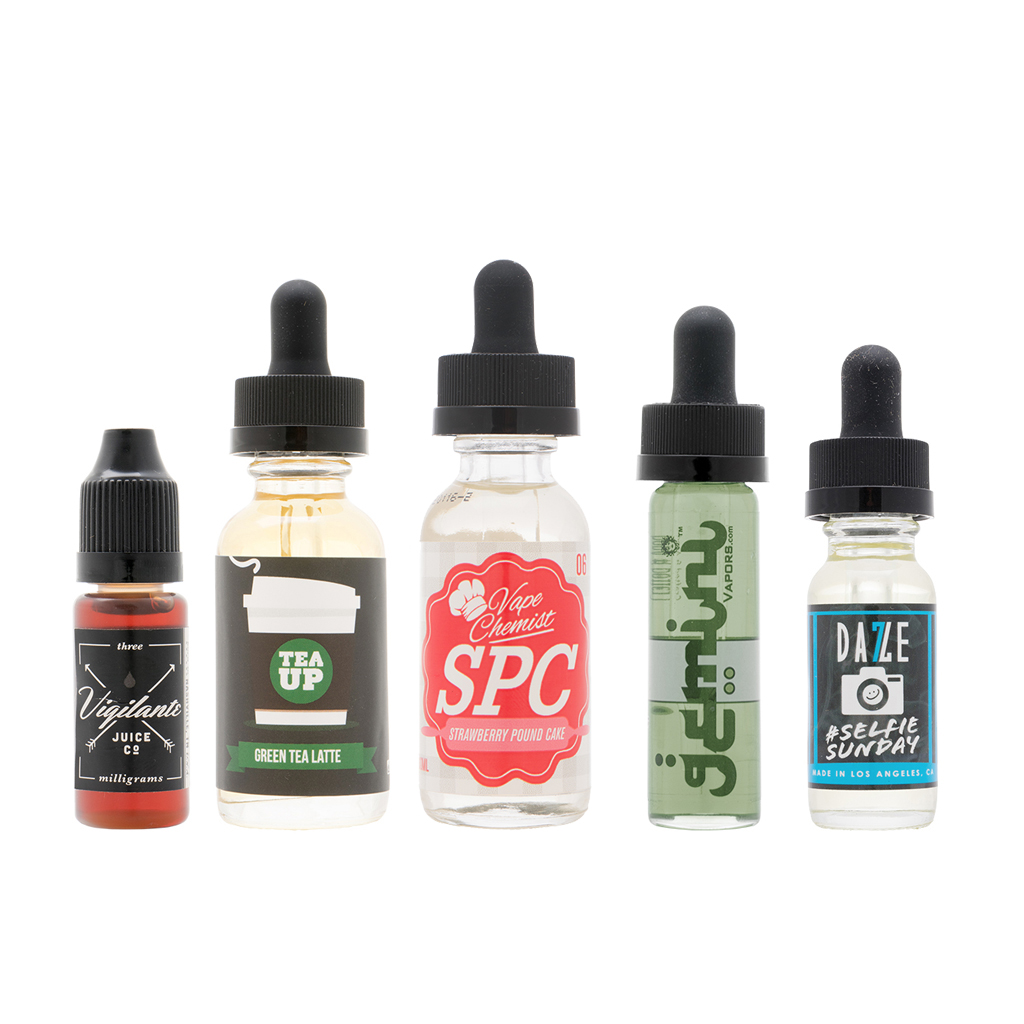 Curated Sample Pack | Feat. Strawberry Pound Cake by Vape Chemist, Green Tea Latte by Tea Up, 100 Grand by Gemini, Selfie Sunday by 7 Daze, and Skull & Crossbones by Vigilante Photo