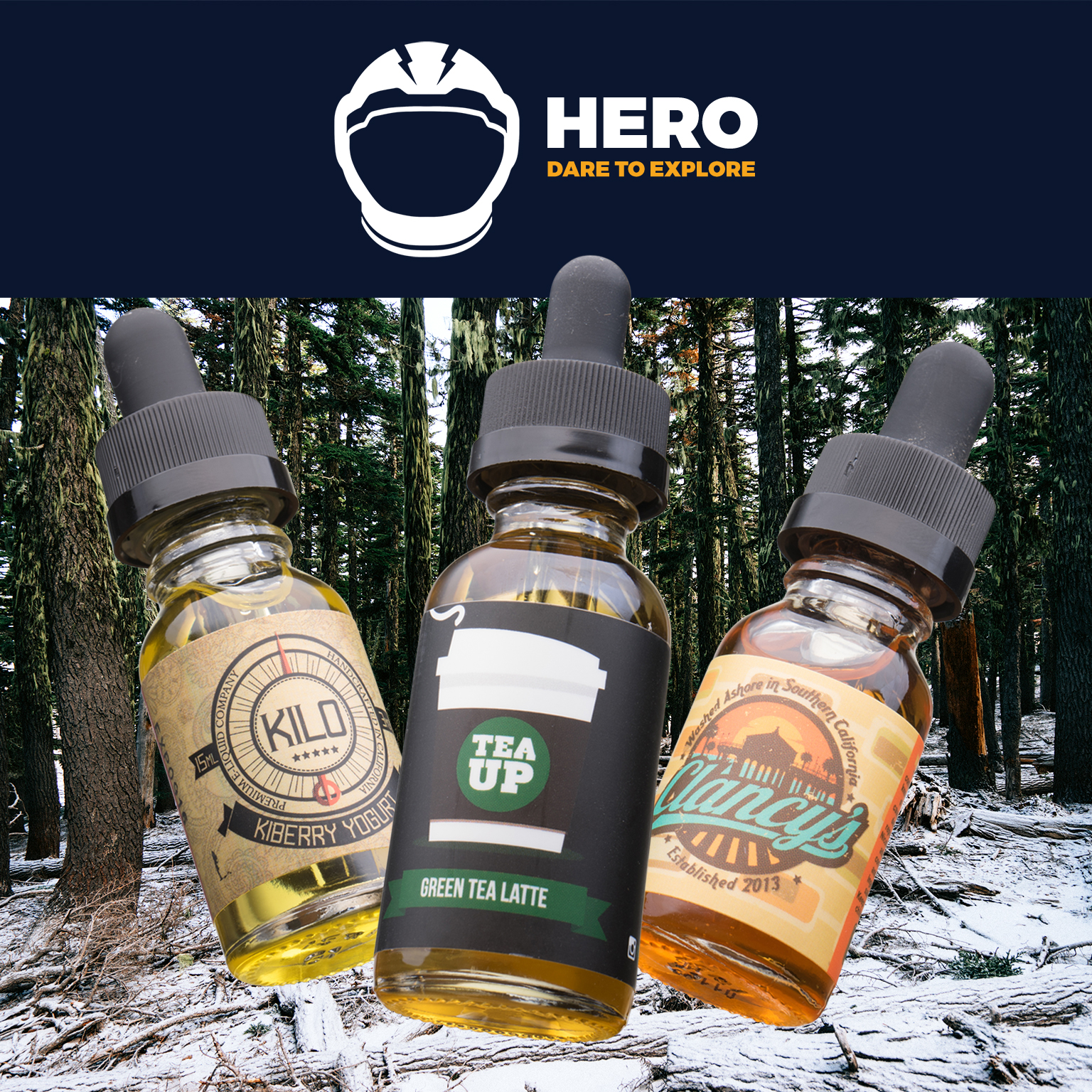 HERO Box | Feat. Green Tea Latte by Tea Up Vapory, Kiberry Yogurt by Kilo, and The Wedge by Clancy%27s Vapors Photo