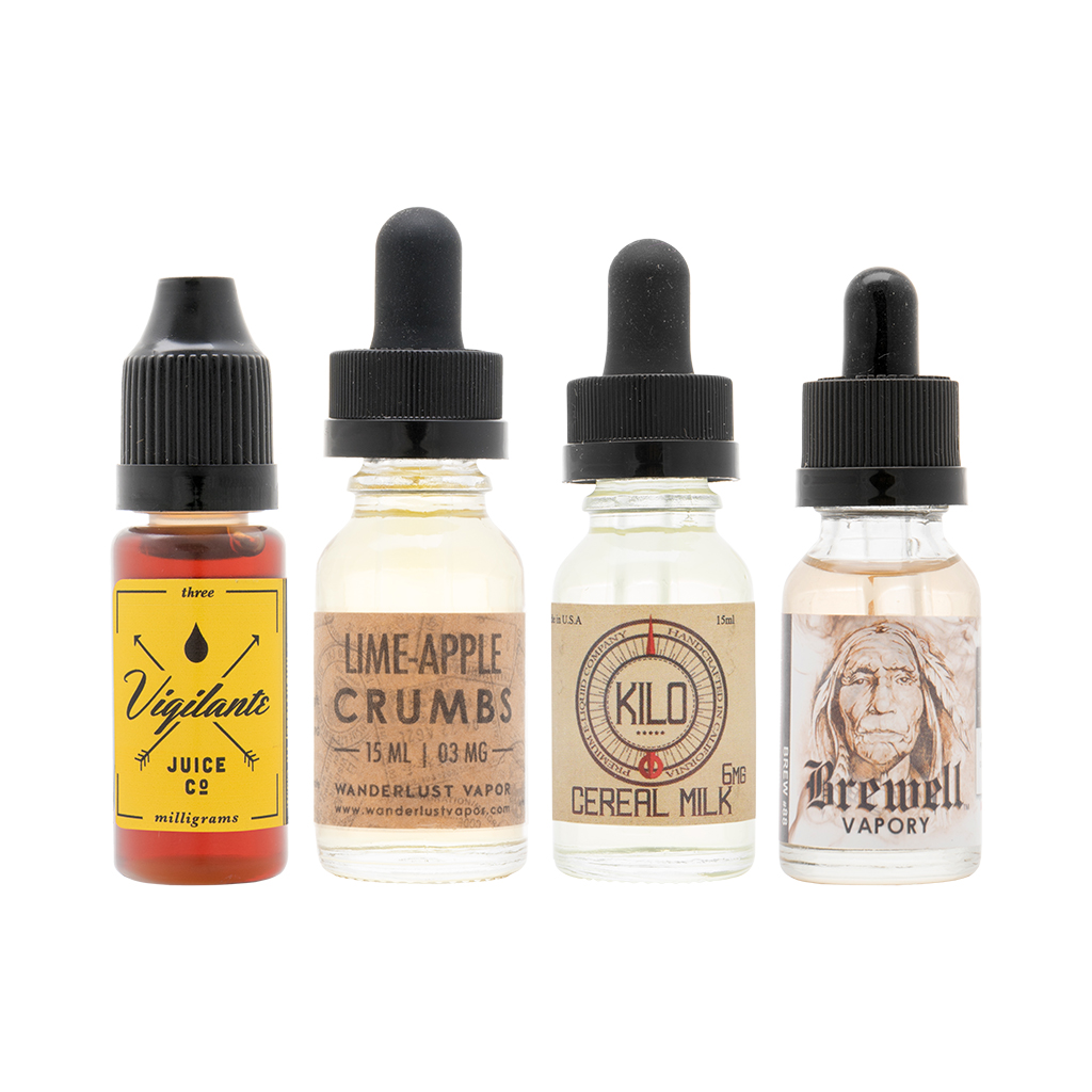 Curated Sample Pack | Feat. Cereal Milk by Kilo Eliquids, Lime-Apple Crumbs by Wanderlust Vapors, Brew #88 by Brewell Vapory, and VIP by Vigilante Juice Co. Photo