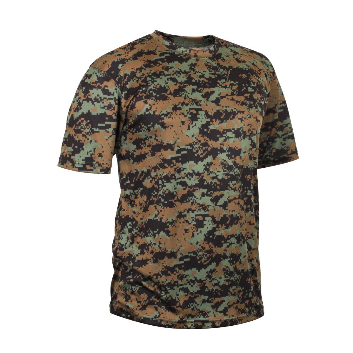 rothco camouflage polyester performance t shirt woodland digital camo ebay. Black Bedroom Furniture Sets. Home Design Ideas