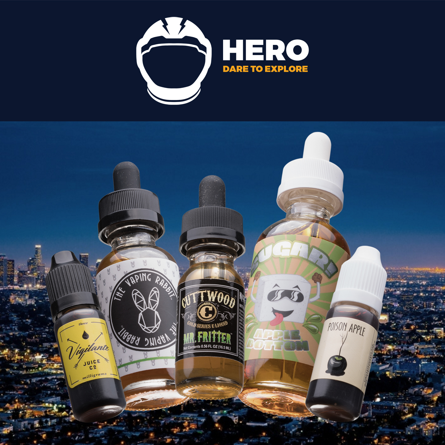 125mL SUPER HERO  Box | Feat. Apple Bottom by Sugar!, The Hatter by The Vaping Rabbit, Mr. Fritter by Cuttwood, VIP by Vigilante Juice Co., and Poison Apply by Twig & Berries Photo