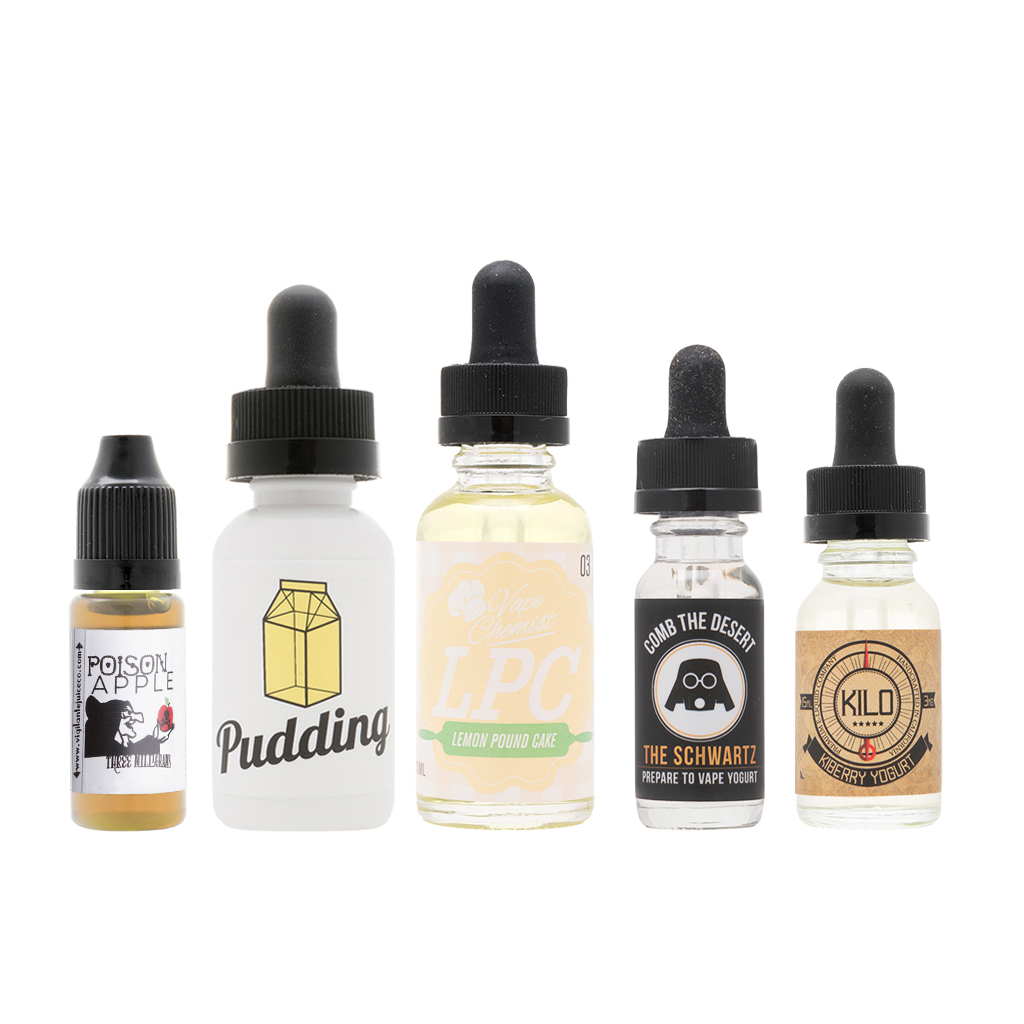 Curated Sample Pack | Feat. Pudding by The Milkman, Lemon Pound Cake by Vape Chemist, Kiberry Yogurt by Kilo, Comb the Desert by The Schwartz, and Poison Apple by Twig & Berries Photo