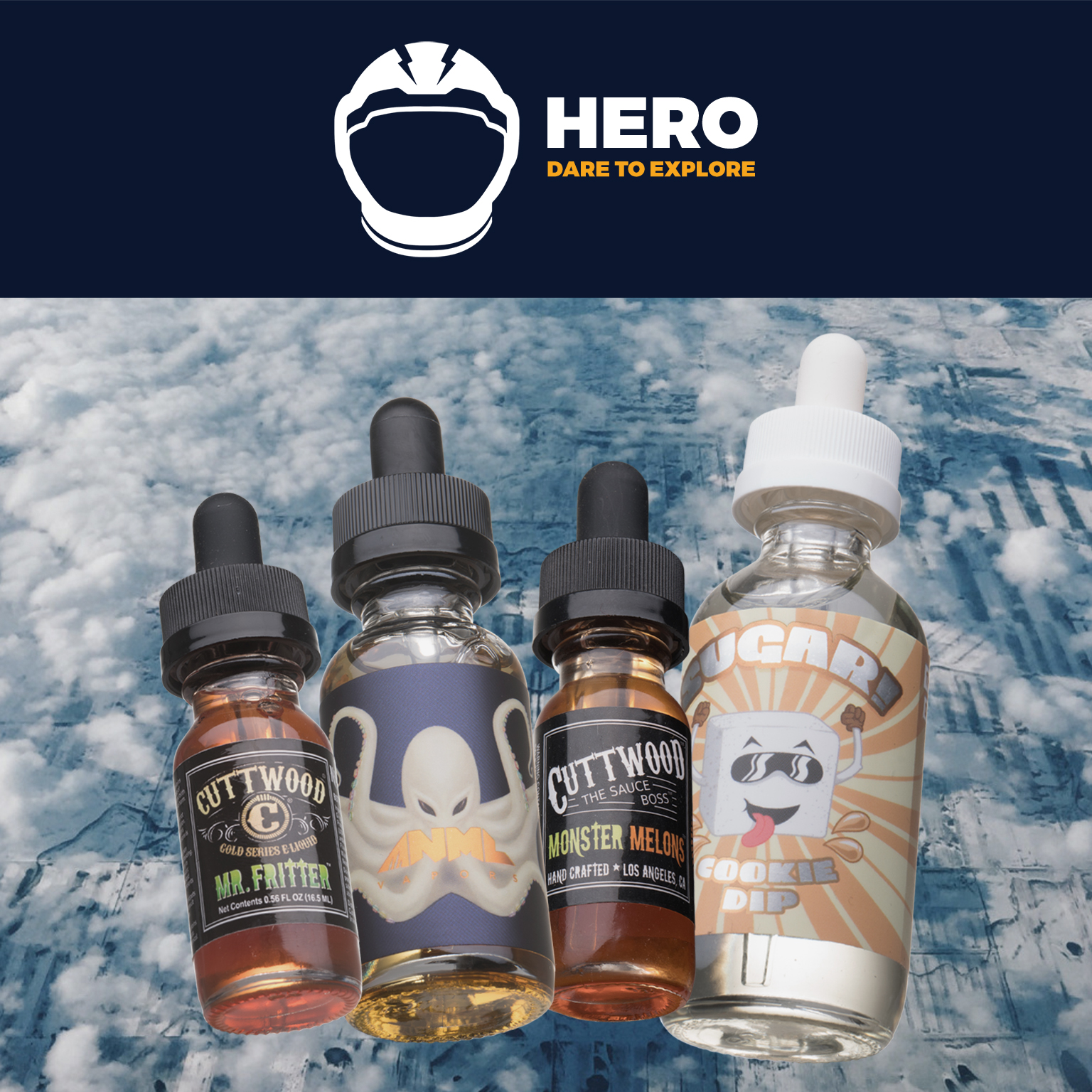 120mL SUPER HERO Box | Feat. Cookie Dip by Sugar!, Looper by ANML, Mr. Fritter by Cuttwood, and Mega Melons by Cuttwood Photo
