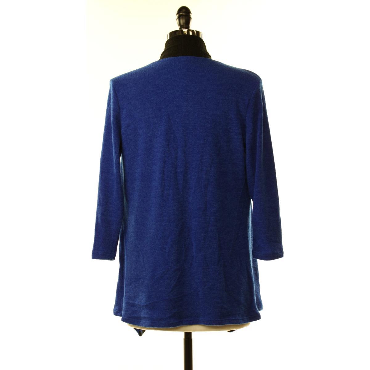 Slinky NEW Womens XS Blue/Black Color-Block Drape Open