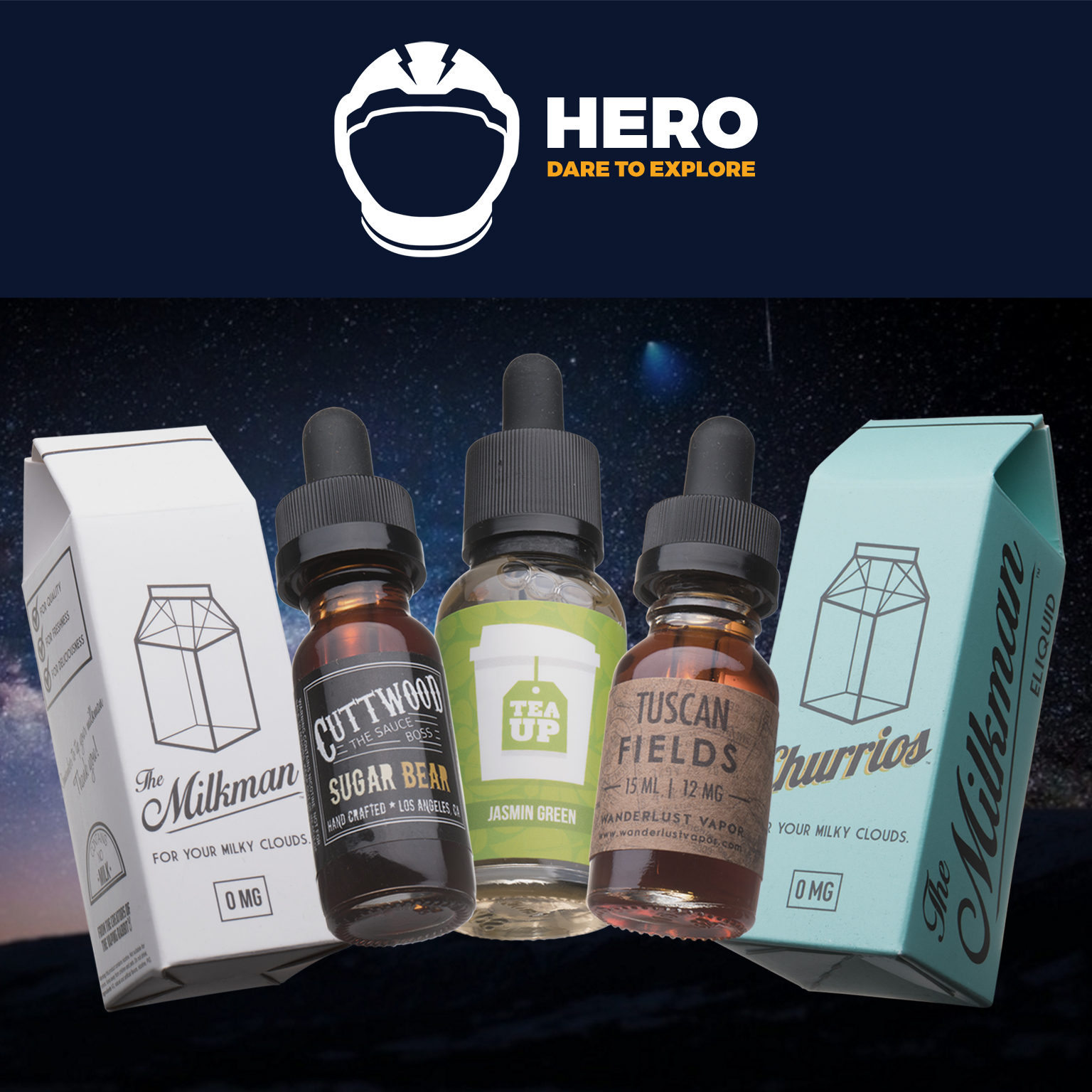 120mL SUPER HERO Box | Feat. The Milkman, Churrios by The Milkman, Jasmine Green Tea by Tea Up Vapory, Sugar Drizzle by Cuttwood, and Tuscan Fields by Wanderlust Vapor Photo